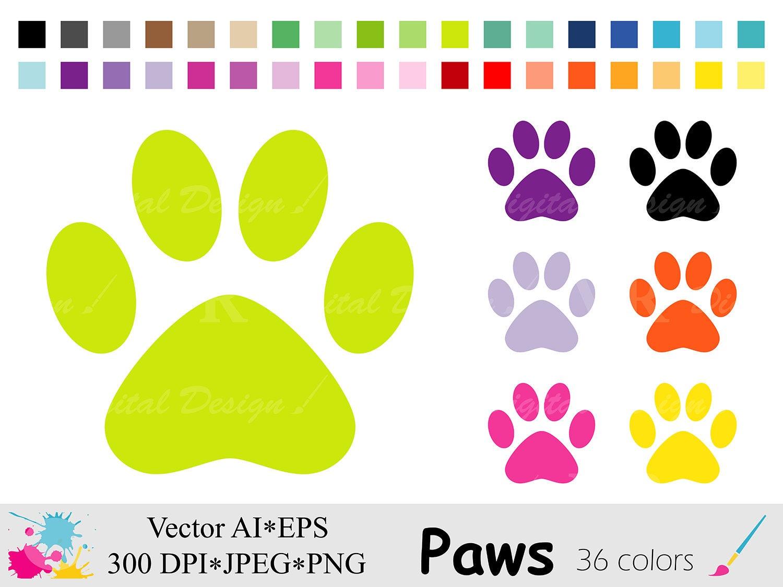 Dog/Cat Paws Clip Art, Rainbow Animal Paws Planner ...