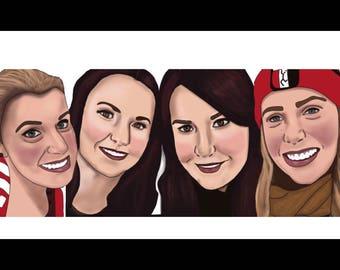 Custom illustrated digital portrait (six people)