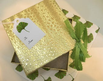 gift wrap kit, botanical gift wrap, mini gift wrapping set, custom design gift wrap, empty box for gift packaging,ginkgo paper kit,favor box
