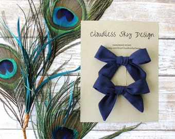 navy blue pigtail bows,  blue bows, navy blue bows, pigtail bows, toddler hair bows, hair bows, hair clips, stocking stuffer, gift for girls