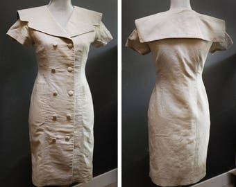 Vintage 70s Khaki Office Dress, Women's Small Military Dress, Light Brown Double Breasted Dress, Sailor Collar Wide Neckline Knee Length