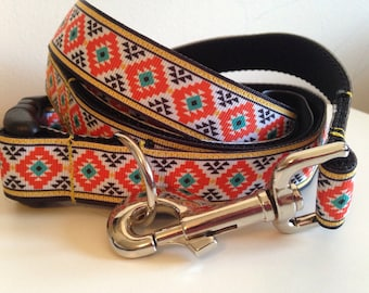Orange Aztec 1 inch Leash and Collar Set