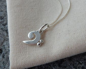 Silver Bass Clef Pendant and Chain