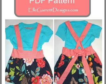 Suspender Skirt - size 3 months - 6 - PDF Pattern