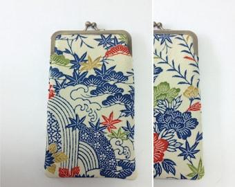 Eye glass case/ Smartphone case /Vintage Japanese kimono fabric case /Sun glass case / Hand-made 58