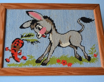 70's / table canvas donkey and carrot on a blue background / child's room decor