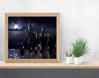 Harry Potter Inspired Hogwarts First Night, Oil Painting Style, Instant Download, Digital Print