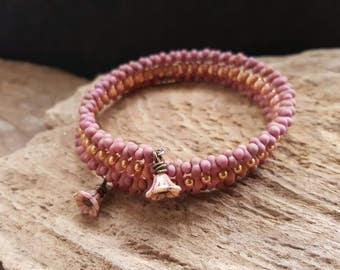 Boho Style Pink & Gold Seed Bead Memory Wire Bracelet, Rustic Coil Flower Bracelet, Bohemian Beaded Wrap Cuff Bracelet, Hippy Jewelry