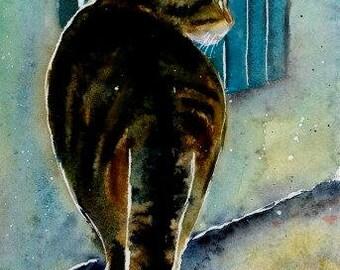 Brown Tabby Cat Original Watercolor Painting