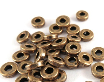 25 Antique Copper Heishi Spacer Donut Beads Round Large 2.5mm Hole Disk LF/CF 6x2mm - 25 pc - M7074-AC25