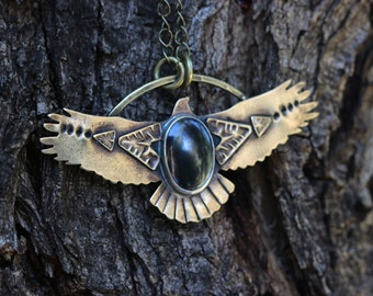 Hawk Necklace Bird Necklace Eagle Necklace Thunderbird Necklace Bohemian Necklace Brass Necklace Southwestern Jewelry Gemstone Necklace