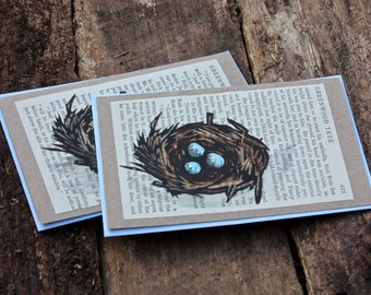Eggs in a Nest Handpainted Linocut Card