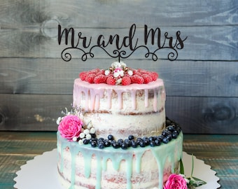 Mr and Mrs Cake Topper - Wedding Cake Topper- Daydream Collection-dreamed wedding- Choose your color- Wedding decoration