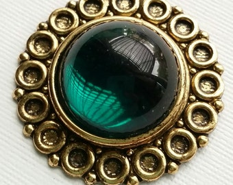 Vintage Green and Brass Pendant
