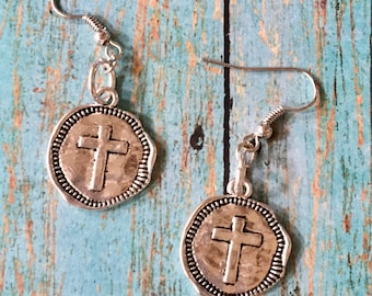 CROSS Earrings Silver Jewelry Coin Charm Pewter