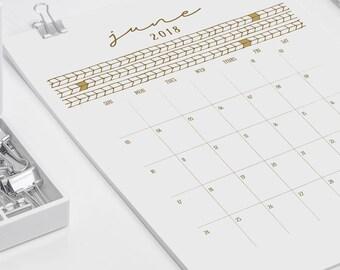 2018 Printable Wall Calendar // Gold Chevron