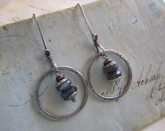 handmade earrings - sterling silver and labradorite, blue flash labradorite, hand forged sterling - L1