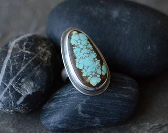 SALE: WAS 139 Nevada #8 Mine Turquoise Cocktail Ring in Sterling Sz. 6+
