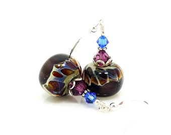 Purple Earrings, Boro Glass Earrings, Lampwork Earrings, Glass Earrings, Glass Bead Earrings, Glass Bead Jewelry, Boro Glass Jewelry