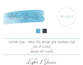 BUSINESS LOGO design, salon, beauty, brush stoke, one of a king logo, Shop Logo, water, customise, handmade goods, small business