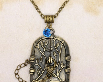Forest Fairy Door Locket Pendant On Bronze Chain Necklace
