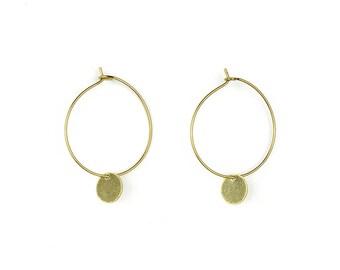 Brass hoop earrings with geometric pendant-lu