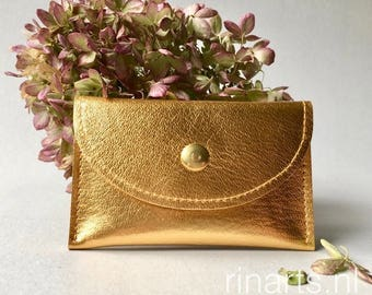 Card holder / slim wallet / coin case / card case in high quality gold leather. gift for her. Gift under 25