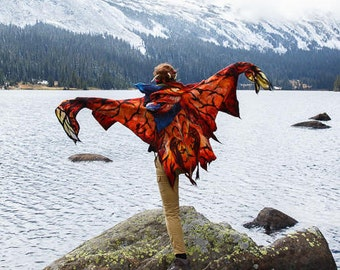 Avatar's Toruk Makto Shawl / Wings shawl / Poncho / Nuno felting  / Handmade felted scarf / Merino wool / Scarf wings.