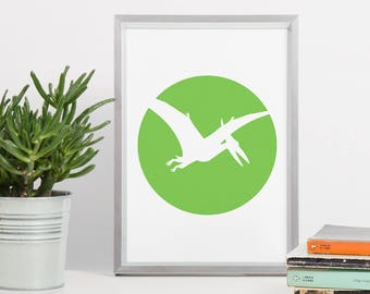 Flying Dinosaur Printable Art - DIN A4 Pterosaur Green Pteranodon 8x10 Circle - Minimal Poster Art, Geometric Printable, Printable Circle