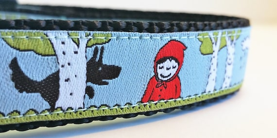 Little Red Riding Hood - Dog Collar / Handmade / Pet Accessories / Adjustable / wolf / fairytale / Pet Lover