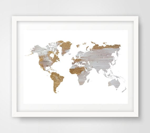 Grey world map wall art world map wall print gray world map like this item gumiabroncs Image collections