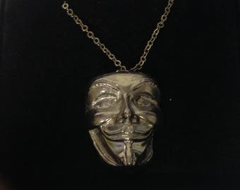 """Guy Fawkes Mask Solid GT81 Pewter On a 16"""" 18"""" 20"""" 24"""" inch Silver Plated Curb Chain Necklace"""