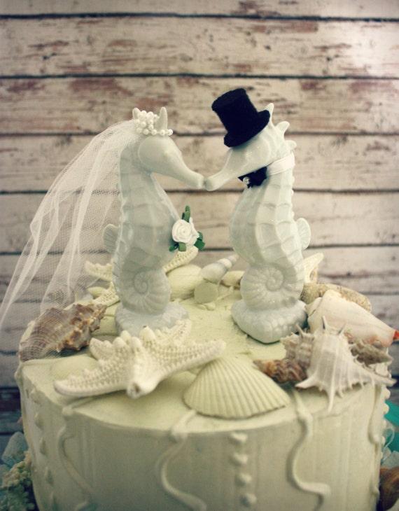 Seahorse wedding cake topper kissing seahorse couple beach junglespirit Image collections
