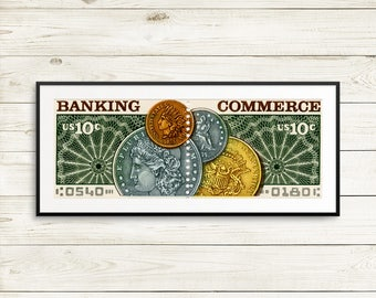 Banking, banking industry, banking and commerce, banking posters, banking gifts, banking art, US postage stamps, USA stamp art, stamp prints