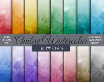 Ombre watercolor, ombre watercolor digital paper, ombre watercolor scrapbook paper, watercolor, painted, pastel, backgrounds, DOWNLOAD