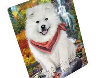 Scenic Waterfall Pomeranian Dog Large Refrigerator
