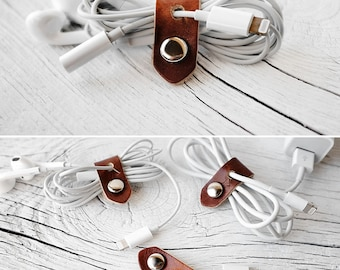 iPhone Stocking Stuffer, Leather Cord Organizer Travel Tech Accessory, Stop Losing the Lightning to 3.5mm Headphones Jack Dongle Cord Keeper