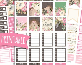 Hedgehog PRINTABLE Planner Stickers for Erin Condren Vertical | Sticker Printables | Happy Planner Stickers | Shepherdsupplyco