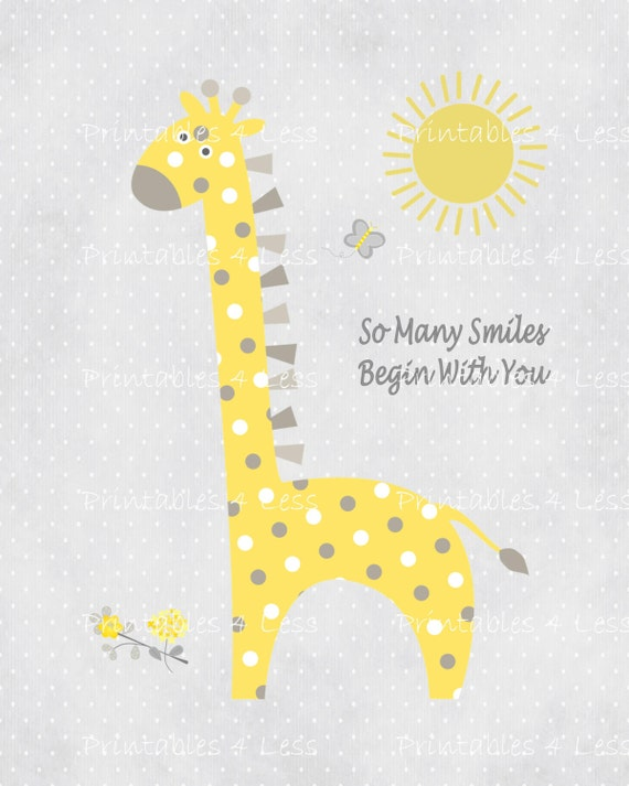 Yellow Gray Giraffe Wall Art Printable Giraffe Art DIY