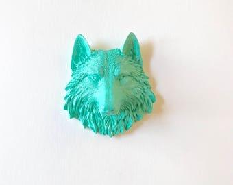AQUA, Small Faux Taxidermy Wolf Head wall hanging, Small Wolf wall mount, Small animal head, Small Faux Taxidermy, Woodland Animal, Wolf art