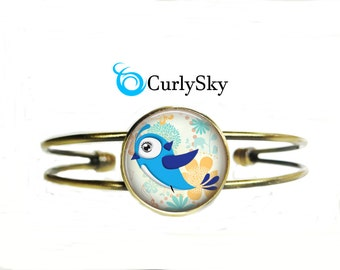 Bronze Blue Bracelet Blue Bird Bangle Blue Bird Jewelry Blue and Bronze Bracelet Bronze Blue Bangle Blue Bird Bracelet Blue Bird Bangle