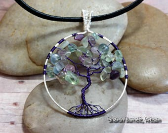 Flourite Tree of Life Silver Wire Wrapped Pendant