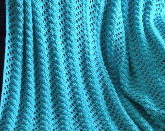 Ripple Afghan in Bright Blue - Crochet Afghan Throw Blanket