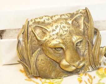 Cat Brooch/Cat Jewelry/Large Cat Brooch/JJ Jonette/Vintage Cat Brooch/JJ Cat Brooch/Vintage Jonette/Jonette Jewelry/Brass/Cat/Jungle  Cat