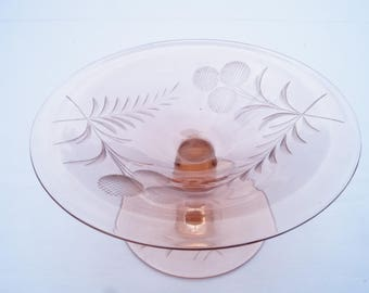 Crystal Czech glass, depression glass, pink, pin tray dish, vintage, retro, jewelry storage