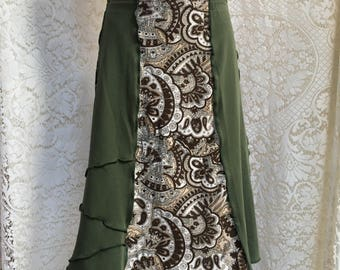 Upcycled Cotton Tee Skirt, Recycled Fashions,Brown & Green Patchwork, MD to Large, Paisley Prints, #SK423