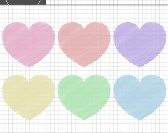 Valentine Clip Art, Heart Clip Art, Valentine Card Clip Art, Pastel Hearts, Instant Download,Commercial Use,Valentine Digital