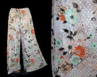 Vintage 60s 70s Floral and Metallic Palazzo Wide Leg Pants M L
