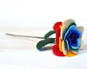 Rainbow Rose / Everlasting rose / Felt Rose / Gay marriage celebration flower / Colourful handmade rose / Rainbow Baby gift