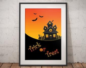 Happy Halloween modern wall art decor for print, Trick or treat fall art print with black bat for Halloween gift or home seasonal decor